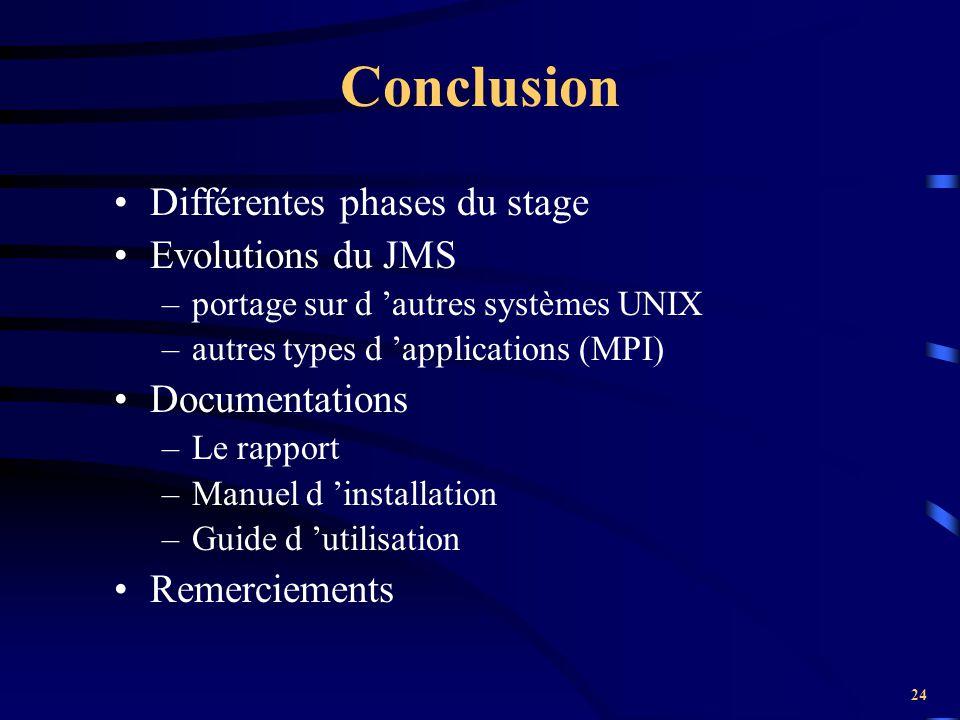 24 Conclusion Différentes phases du stage Evolutions du JMS –portage sur d 'autres systèmes UNIX –autres types d 'applications (MPI) Documentations –L