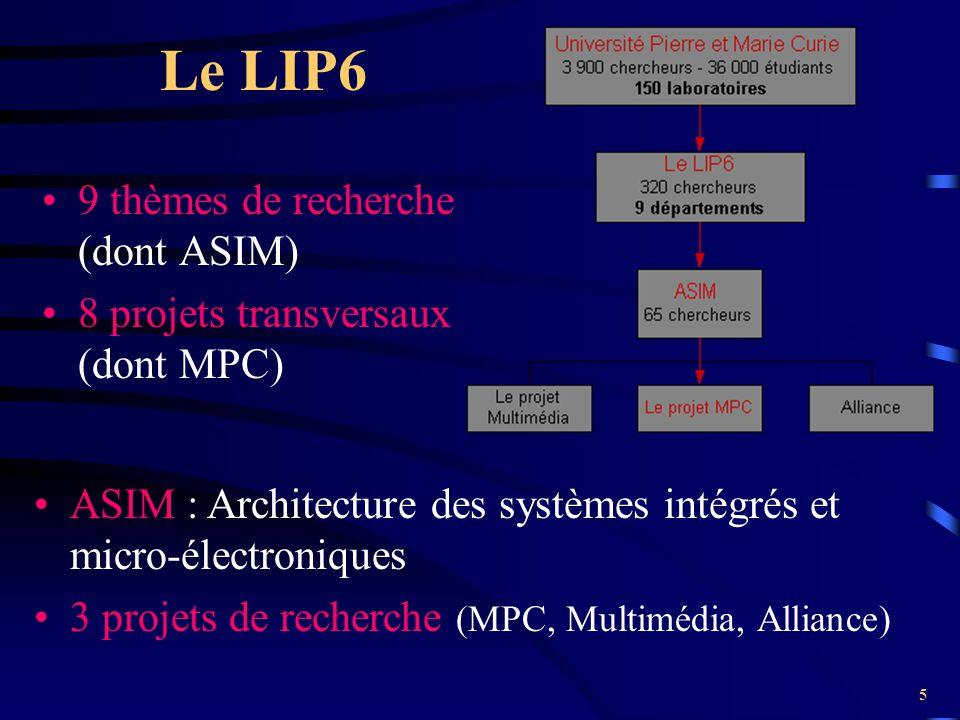 5 Le LIP6 9 thèmes de recherche (dont ASIM) 8 projets transversaux (dont MPC) ASIM : Architecture des systèmes intégrés et micro-électroniques 3 proje