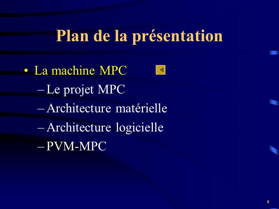 7 Le projet MPC Démarré en janvier 1995 (Alain GREINER) Machine parallèle performante à faible coût Nœuds de calcul = PCs (Bi-pentium) –4 ou 8 nœuds (4 au LIP6) –Réseau HSL, cartes FastHSL, liens HSL Couches logicielles (PVM) Buts : –fournir une puissance de calcul –comparaisons avec FastEthernet, Myrinet...