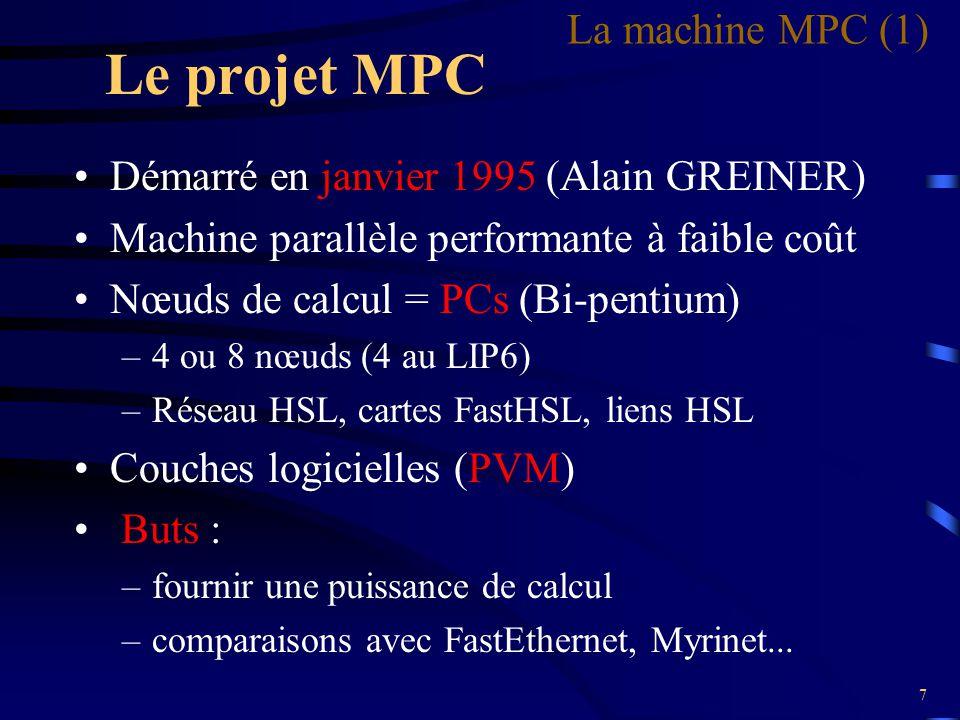 8 Architecture matérielle 4 nœuds de calcul = 4 Bi-pentium 1 console pour l 'exploitation de la machine Réseaux Ethernet (100 Mb/s) et HSL (1 Gb/s, full duplex) La machine MPC (2)