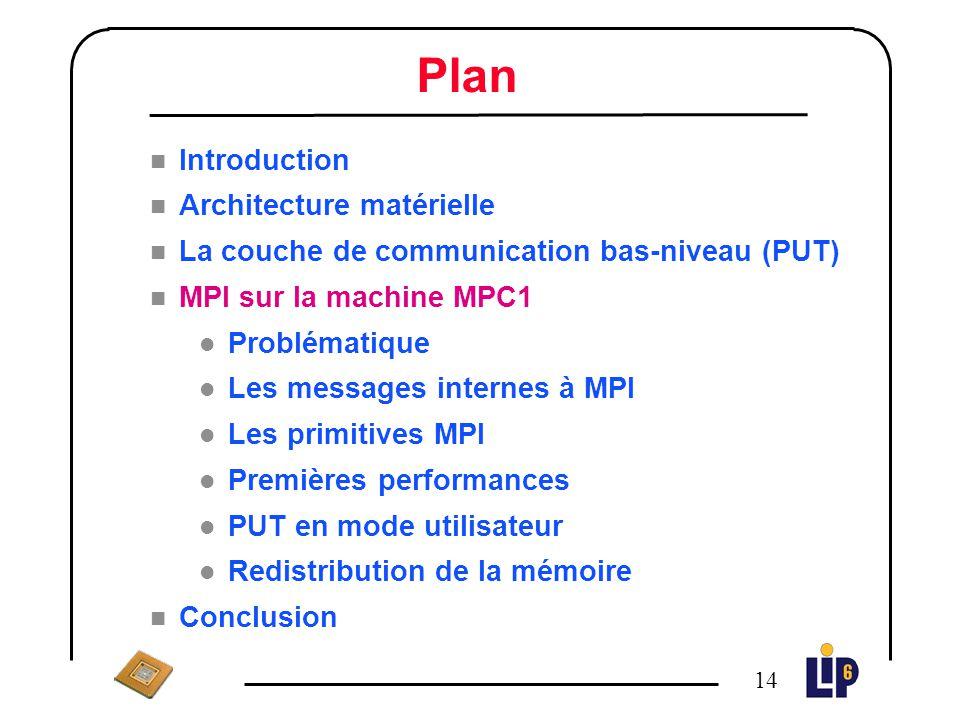 13 Performances de PUT PC Pentium II 350MHz Débit : 494 Mbit/s Demi-débit : 66 octets Latence : 4 µs (sans appel système, sans interruption)
