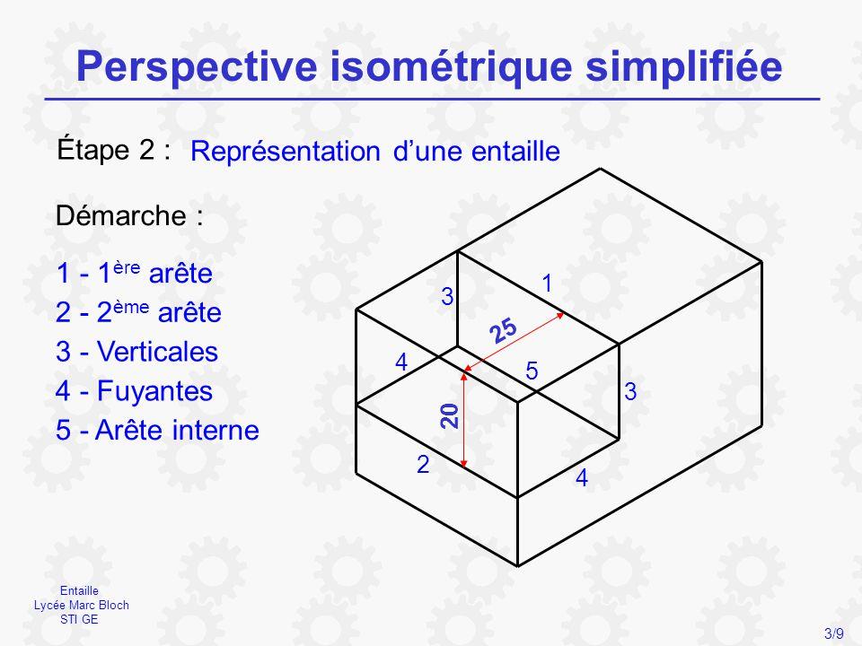 Chanfrein Lycée Marc Bloch STI GE Perspective isométrique simplifiée 4/9 Représentation d'un chanfrein Étape 3 : Démarche : 1 - Arête supérieure 2 - Arête inférieure 3 - Arêtes obliques 1 2 3 3 20 15