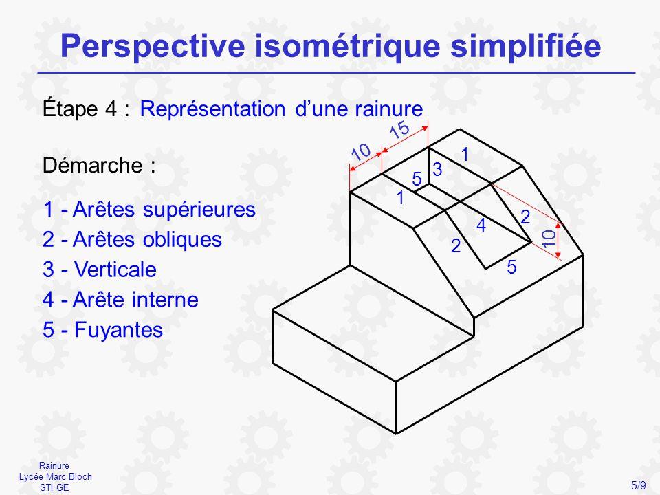 Perçage Lycée Marc Bloch STI GE Perspective isométrique simplifiée 6/9 Représentation d'un perçage Étape 5 : Démarche : 1 - Axes du cercle 2 - Tangentes 3 - Arcs tangents 1 2 4 3 1 2 3 4 - Ellipse 3 2 10 20