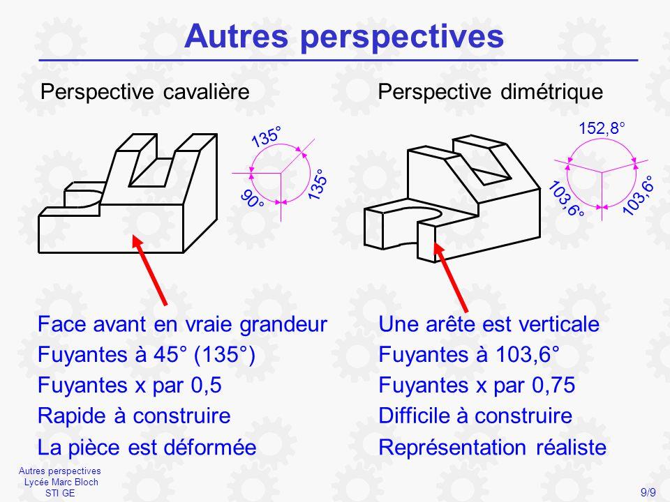 Autres perspectives Lycée Marc Bloch STI GE Autres perspectives 9/9 Perspective dimétrique Face avant en vraie grandeur Fuyantes à 45° (135°) Fuyantes