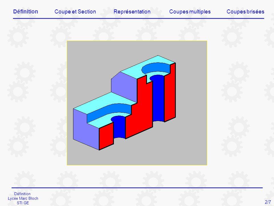 Coupe et Section Lycée Marc Bloch STI GE 3/7 SectionCoupe DéfinitionCoupe et SectionReprésentationCoupes briséesCoupes multiples