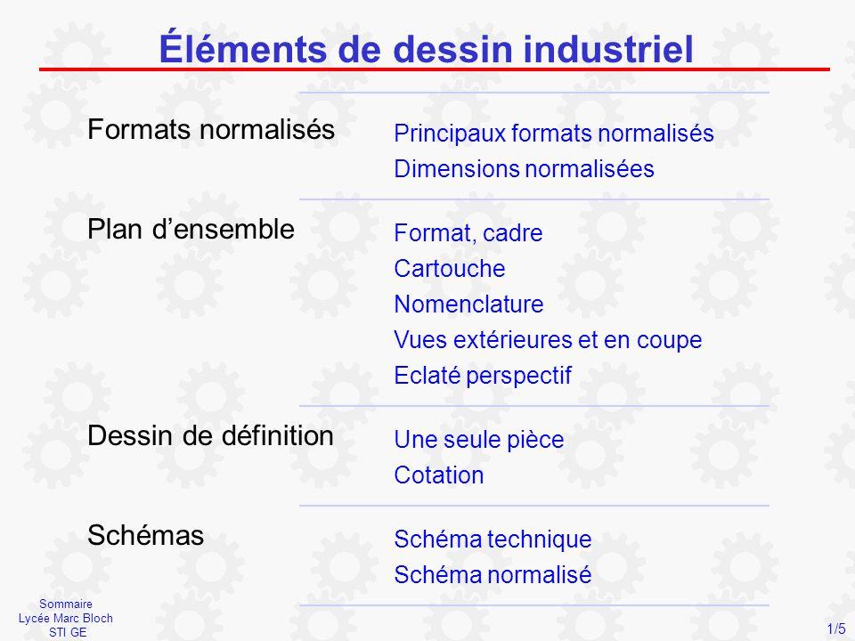 Sommaire Lycée Marc Bloch STI GE Éléments de dessin industriel Formats normalisés Principaux formats normalisés Dimensions normalisées Plan d'ensemble