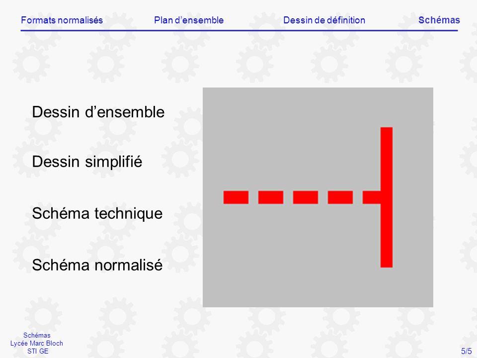 Schémas Lycée Marc Bloch STI GE Dessin d'ensemble Dessin simplifié Schéma technique Schéma normalisé Formats normalisésPlan d'ensembleDessin de défini
