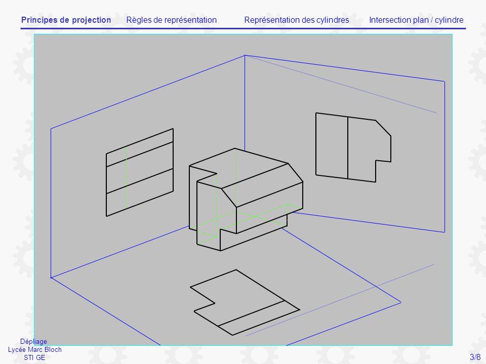 Droite à 45° Vue de FACEVue de GAUCHE Vue de DESSUS Règles Lycée Marc Bloch STI GE Principes de projectionRègles de représentationReprésentation des cylindresIntersection plan / cylindre 4/8
