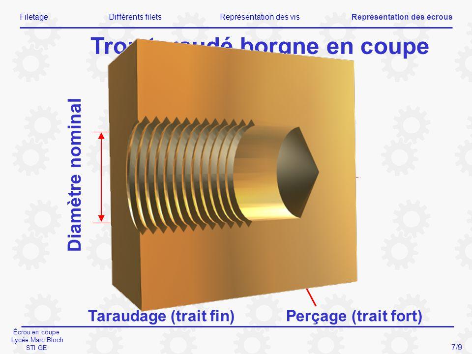 Écrou en coupe Lycée Marc Bloch STI GE Diamètre nominal Taraudage (trait fin)Perçage (trait fort) Trou taraudé borgne en coupe FiletageDifférents file