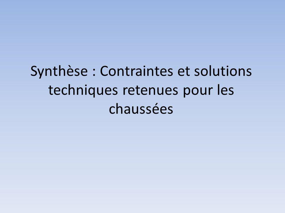 Synthèse : Contraintes et solutions techniques retenues pour les chaussées