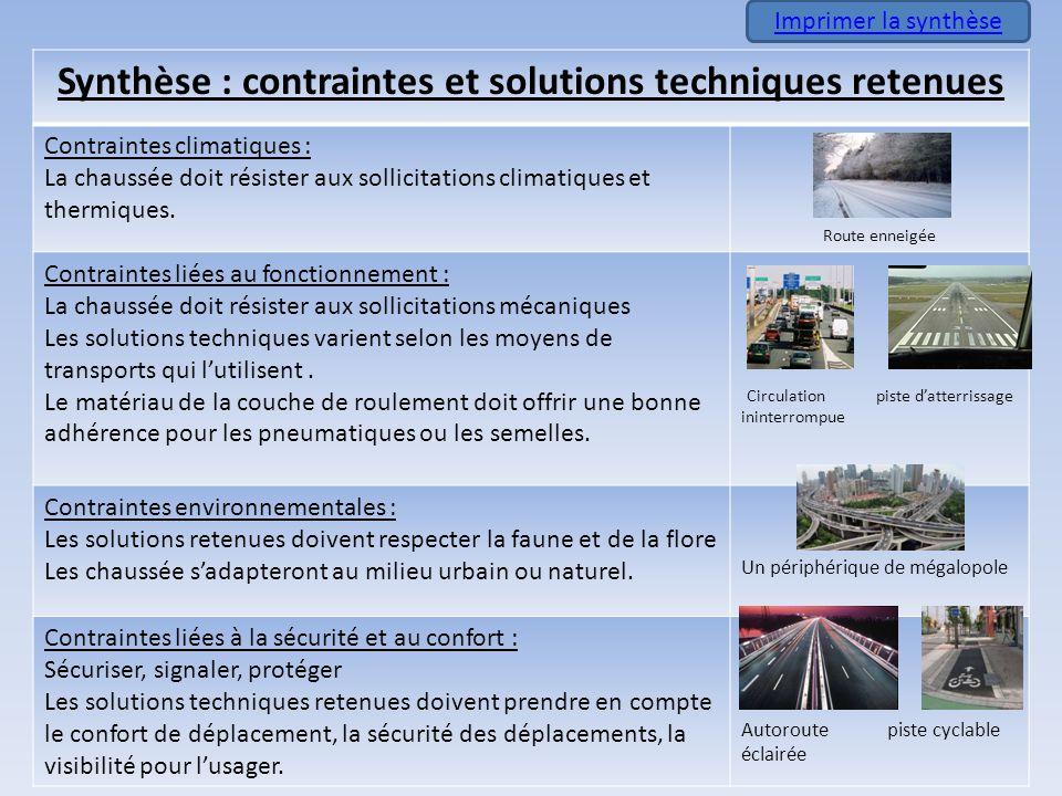 Synthèse : contraintes et solutions techniques retenues Contraintes climatiques : La chaussée doit résister aux sollicitations climatiques et thermiqu