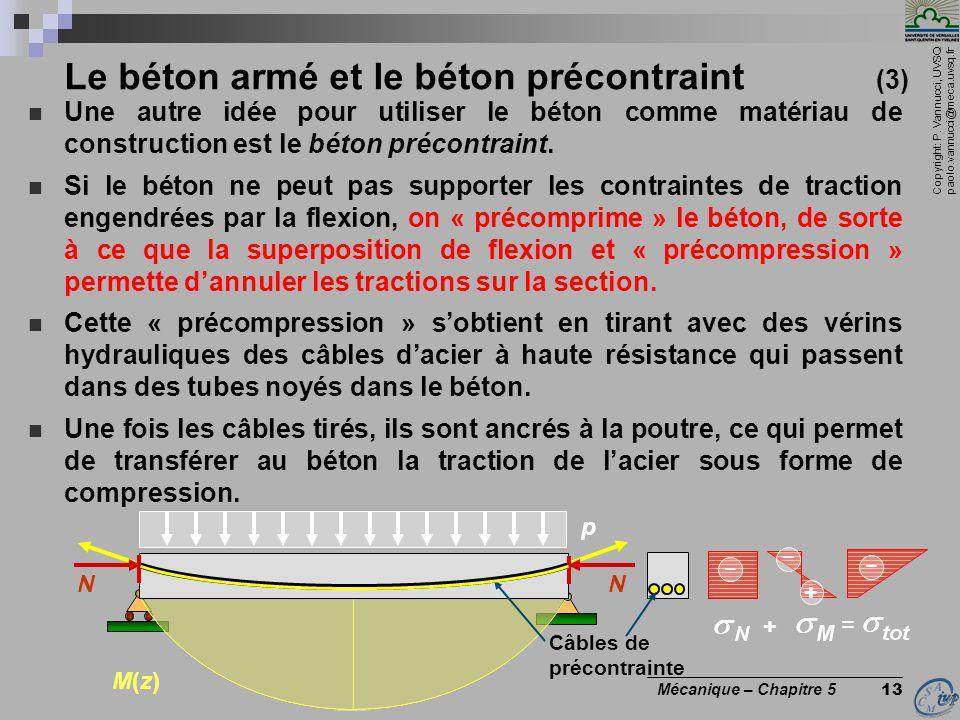 Copyright: P. Vannucci, UVSQ paolo.vannucci@meca.uvsq.fr ________________________________ Mécanique – Chapitre 5 13 Le béton armé et le béton précontr