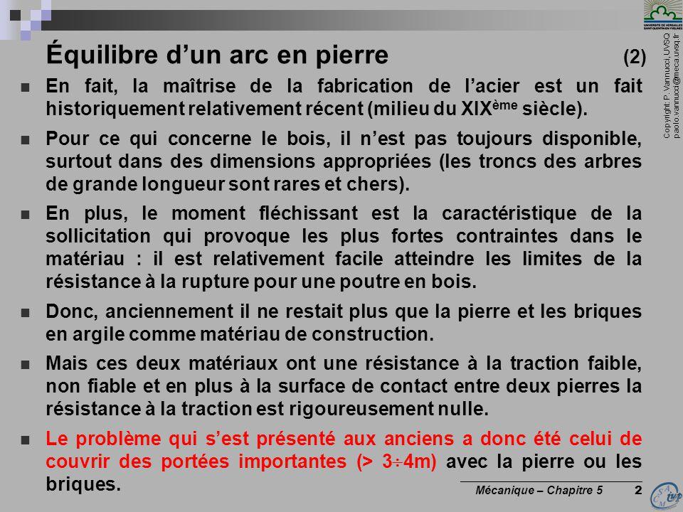 Copyright: P. Vannucci, UVSQ paolo.vannucci@meca.uvsq.fr ________________________________ Mécanique – Chapitre 5 2 Équilibre d'un arc en pierre (2) En