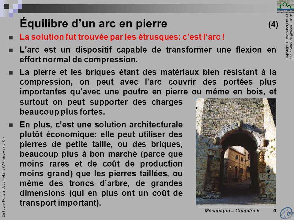 Copyright: P. Vannucci, UVSQ paolo.vannucci@meca.uvsq.fr ________________________________ Mécanique – Chapitre 5 4 Équilibre d'un arc en pierre (4) La