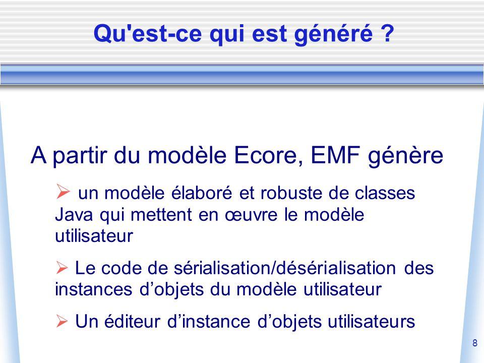 8 A partir du modèle Ecore, EMF génère  un modèle élaboré et robuste de classes Java qui mettent en œuvre le modèle utilisateur  Le code de sérialisation/désérialisation des instances d'objets du modèle utilisateur  Un éditeur d'instance d'objets utilisateurs Qu est-ce qui est généré