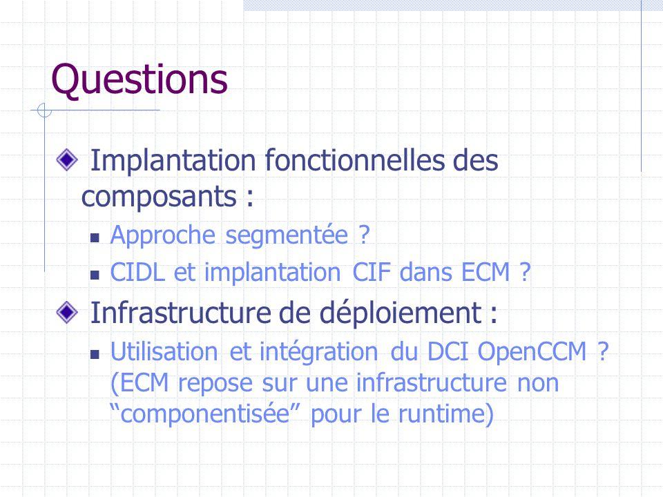 Questions Déploiement et Execution : Utilisation des outils d'assemblage et de conditionnement OpenCCM : OK mais, comment les utilise-t-on, ainsi que le deploytool OpenCCM pour déployer des archives ECM de composants en lieu et place du runtime CORBA de ECM .