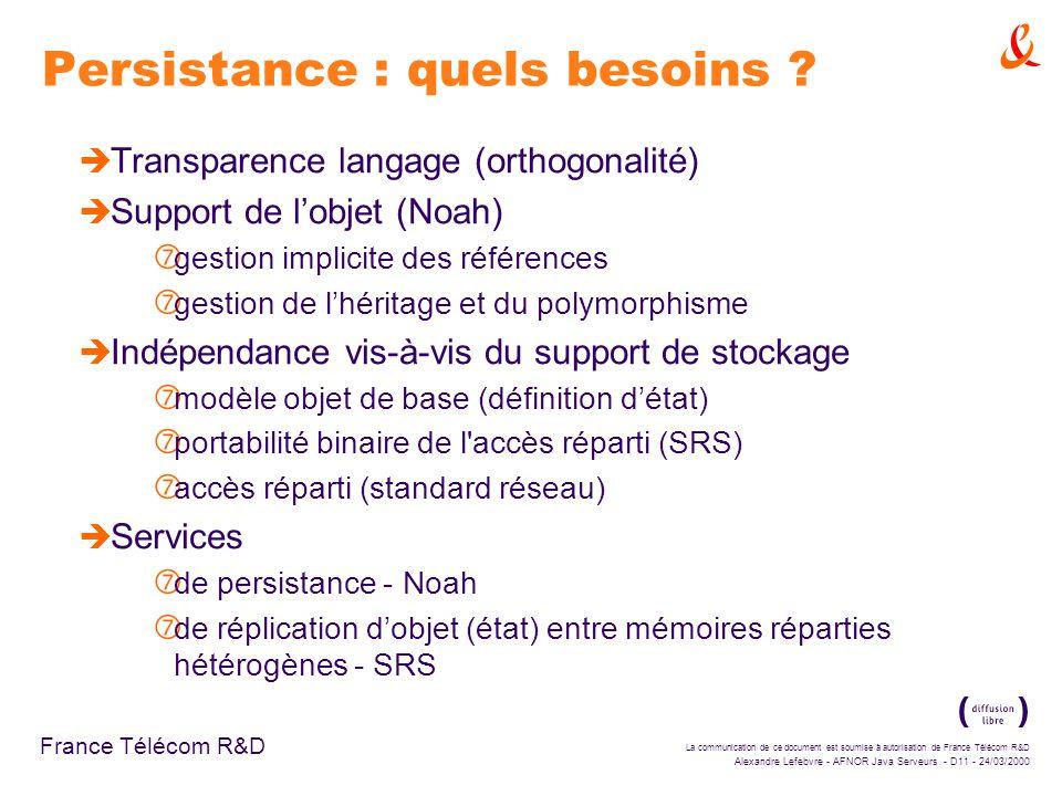 La communication de ce document est soumise à autorisation de France Télécom R&D Alexandre Lefebvre - AFNOR Java Serveurs - D11 - 24/03/2000 France Télécom R&D Persistance : quels besoins .