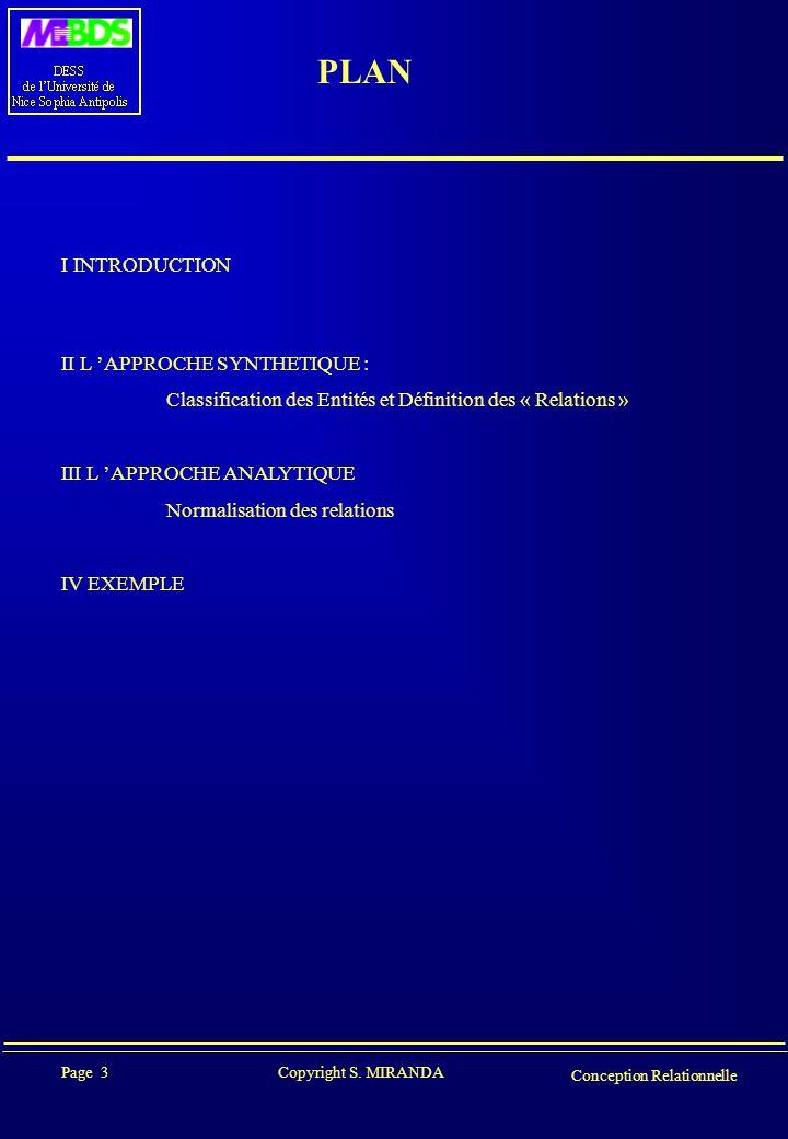 Page 3 Copyright S. MIRANDA Conception Relationnelle PLAN I INTRODUCTION II L 'APPROCHE SYNTHETIQUE : Classification des Entités et Définition des « R