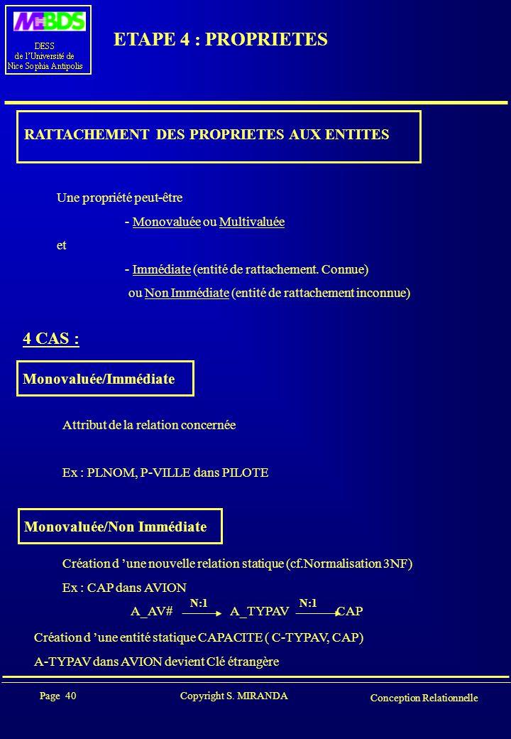 Page 40 Copyright S. MIRANDA Conception Relationnelle ETAPE 4 : PROPRIETES RATTACHEMENT DES PROPRIETES AUX ENTITES Une propriété peut-être - Monovalué