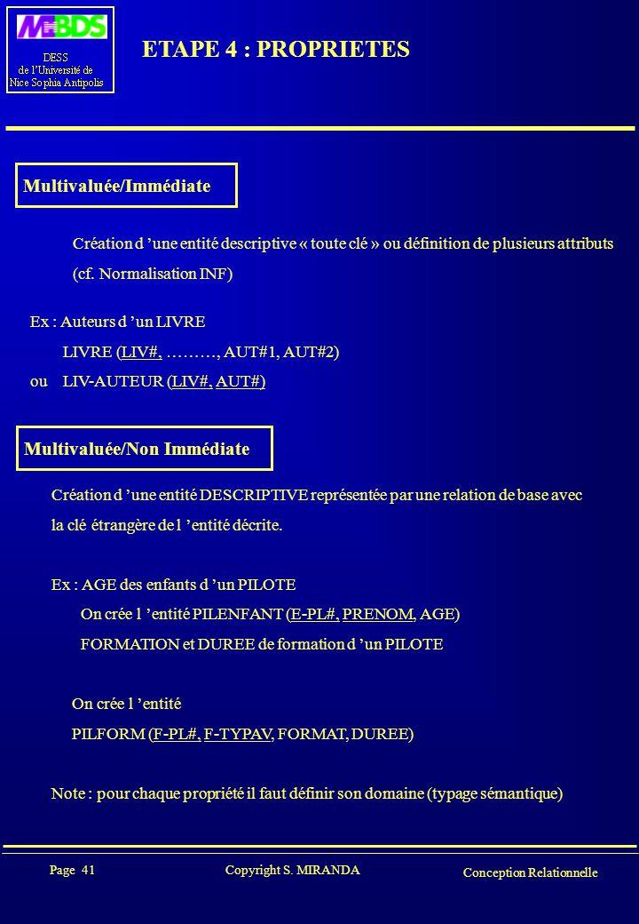 Page 41 Copyright S. MIRANDA Conception Relationnelle ETAPE 4 : PROPRIETES Multivaluée/Immédiate Création d 'une entité descriptive « toute clé » ou d