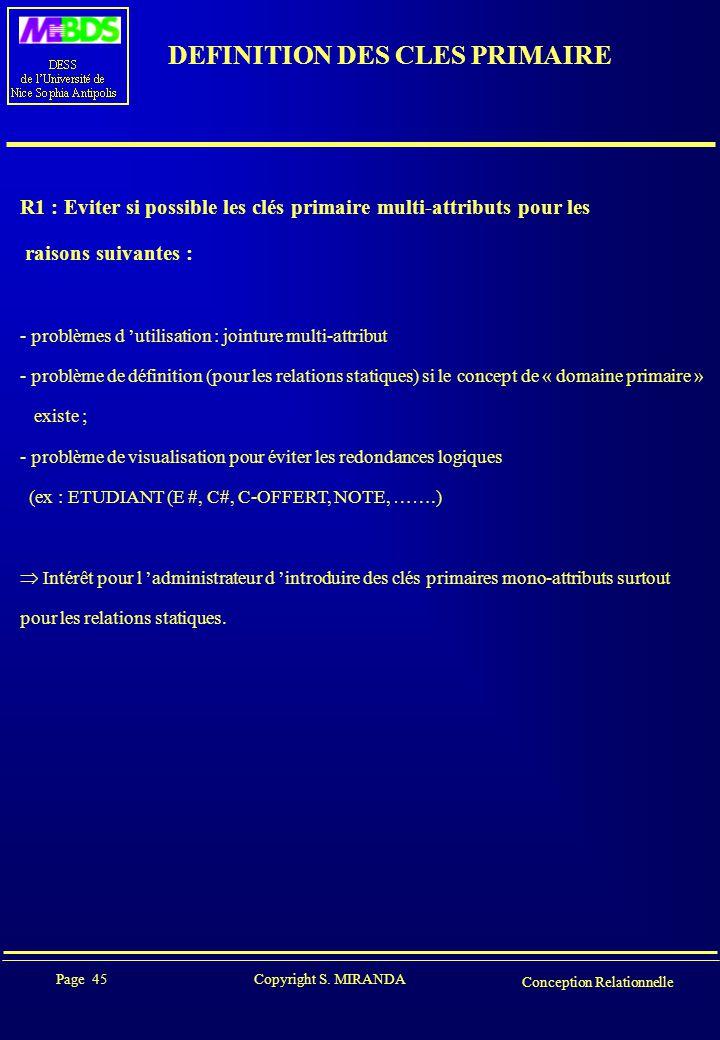 Page 45 Copyright S. MIRANDA Conception Relationnelle DEFINITION DES CLES PRIMAIRE R1 : Eviter si possible les clés primaire multi-attributs pour les
