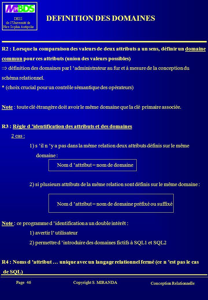 Page 46 Copyright S. MIRANDA Conception Relationnelle DEFINITION DES DOMAINES R2 : Lorsque la comparaison des valeurs de deux attributs a un sens, déf