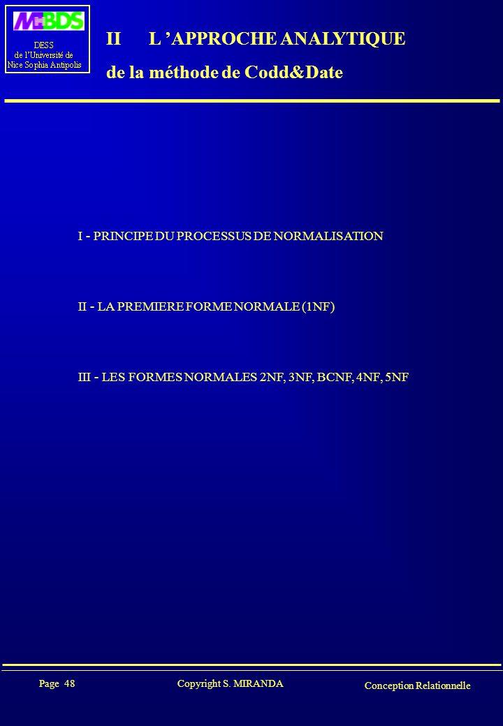 Page 48 Copyright S. MIRANDA Conception Relationnelle II L 'APPROCHE ANALYTIQUE de la méthode de Codd&Date I - PRINCIPE DU PROCESSUS DE NORMALISATION