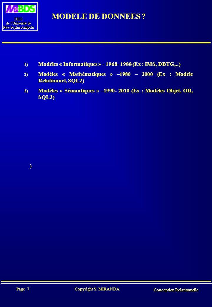 Page 7 Copyright S. MIRANDA Conception Relationnelle MODELE DE DONNEES ? ) 1) Modèles « Informatiques » - 1968- 1988 (Ex : IMS, DBTG,..) 2) Modèles «