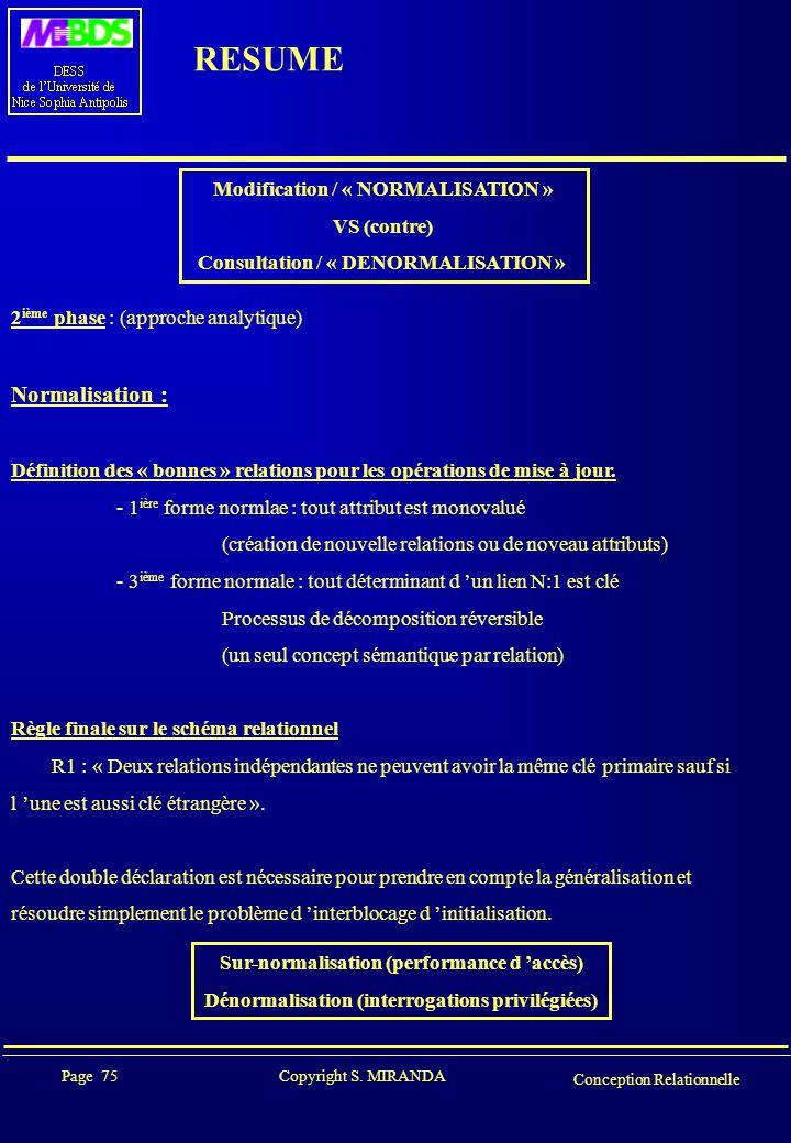 Page 75 Copyright S. MIRANDA Conception Relationnelle RESUME Modification / « NORMALISATION » VS (contre) Consultation / « DENORMALISATION » 2 ième ph