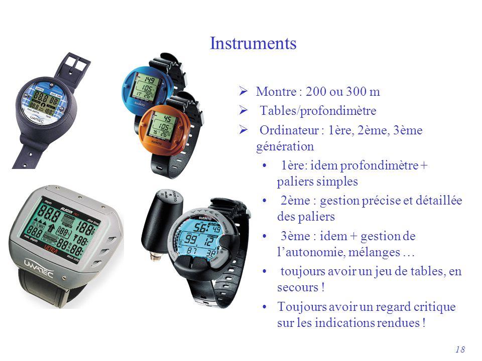 Instruments  Montre : 200 ou 300 m  Tables/profondimètre  Ordinateur : 1ère, 2ème, 3ème génération 1ère: idem profondimètre + paliers simples 2ème