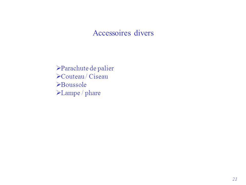 Accessoires divers  Parachute de palier  Couteau / Ciseau  Boussole  Lampe / phare 21