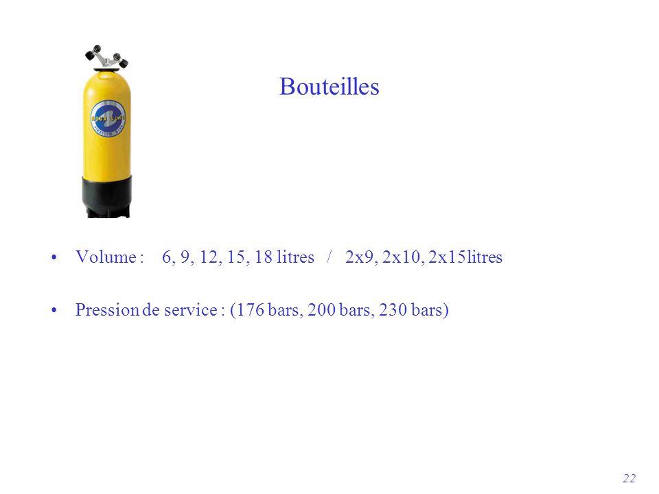 Bouteilles Volume : 6, 9, 12, 15, 18 litres / 2x9, 2x10, 2x15litres Pression de service : (176 bars, 200 bars, 230 bars) 22