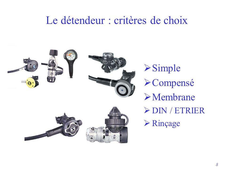 Le détendeur : critères de choix  Simple  Compensé  Membrane  DIN / ETRIER  Rinçage 8