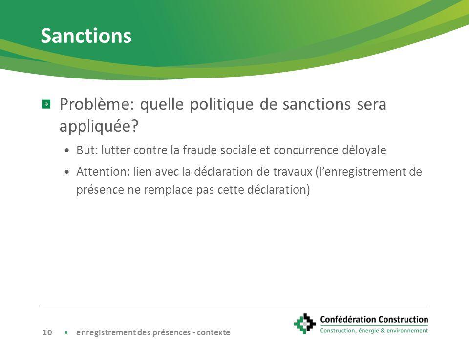 Sanctions Problème: quelle politique de sanctions sera appliquée.