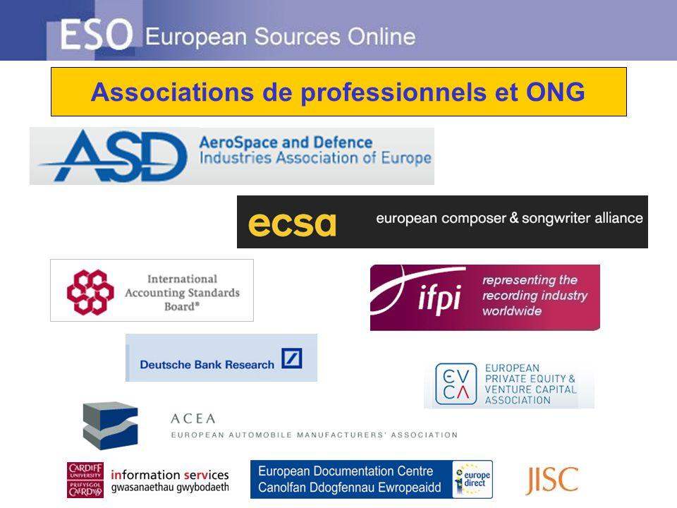 Associations de professionnels et ONG