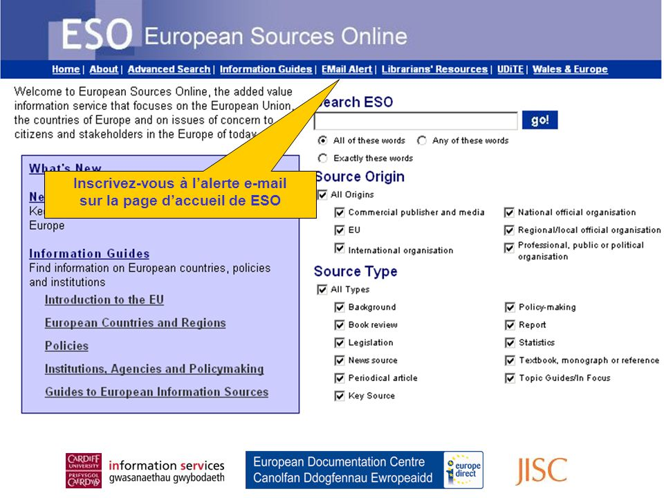 Register for the Email Alert From the ESO Home Page Inscrivez-vous à l'alerte e-mail sur la page d'accueil de ESO