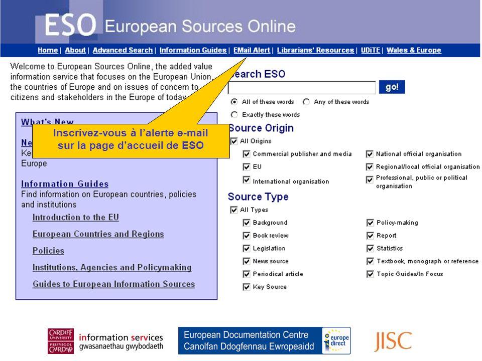 Register for the Email Alert From the ESO Home Page Inscrivez-vous à l'alerte e-mail sur la page d'accueil de ESO