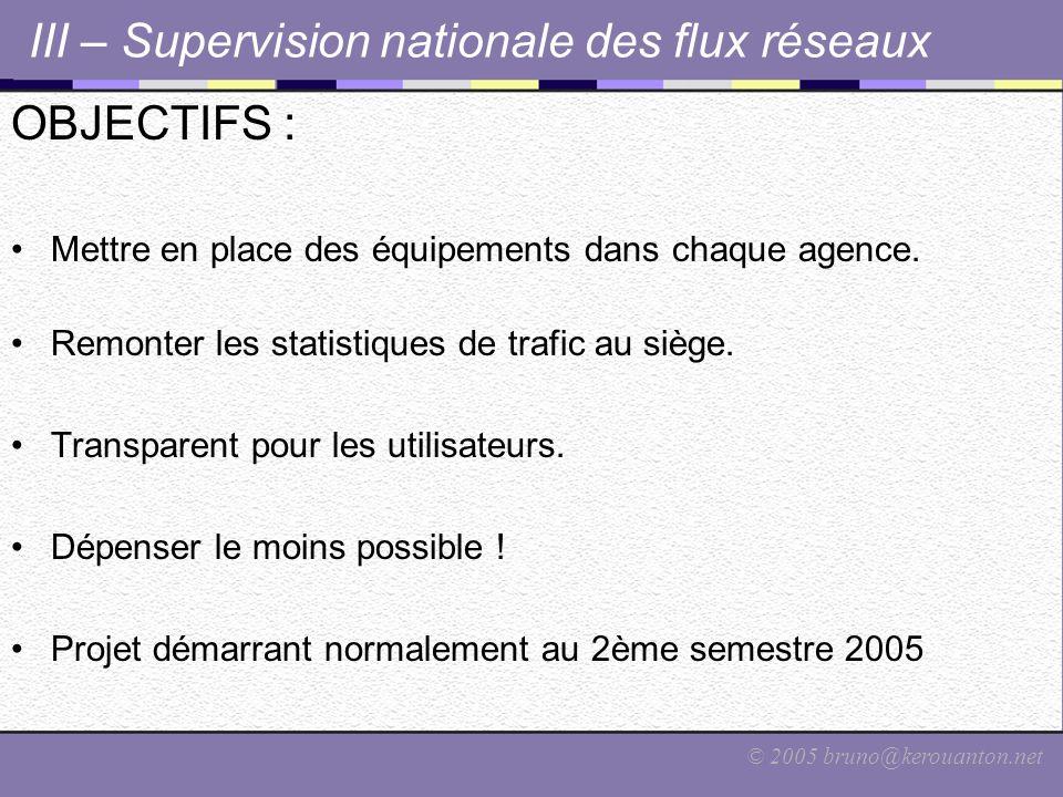 © 2005 bruno@kerouanton.net III – Supervision nationale des flux réseaux OBJECTIFS : Mettre en place des équipements dans chaque agence. Remonter les