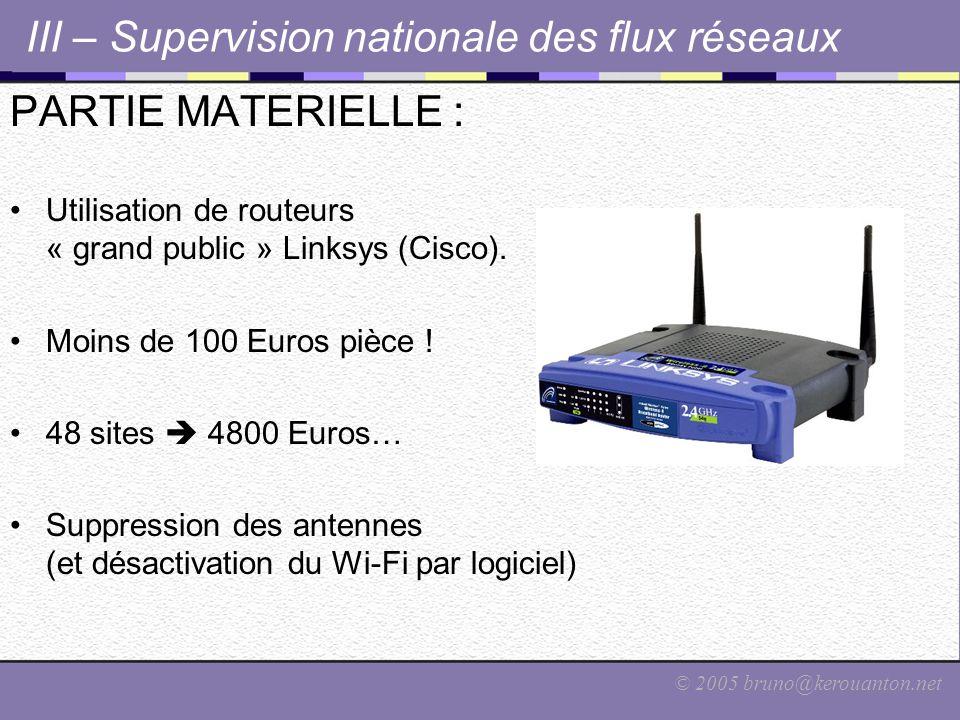 © 2005 bruno@kerouanton.net III – Supervision nationale des flux réseaux PARTIE MATERIELLE : Utilisation de routeurs « grand public » Linksys (Cisco).