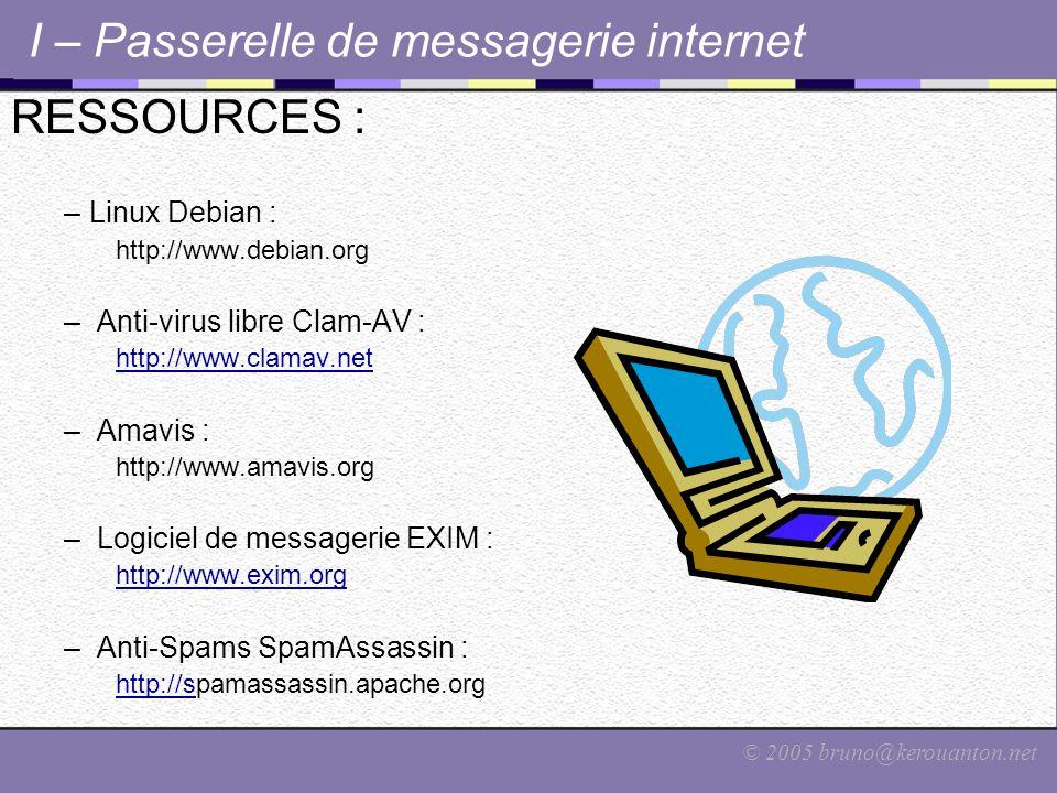 © 2005 bruno@kerouanton.net I – Passerelle de messagerie internet RESSOURCES : –Linux Debian : http://www.debian.org – Anti-virus libre Clam-AV : http://www.clamav.net – Amavis : http://www.amavis.org – Logiciel de messagerie EXIM : http://www.exim.org – Anti-Spams SpamAssassin : http://shttp://spamassassin.apache.org