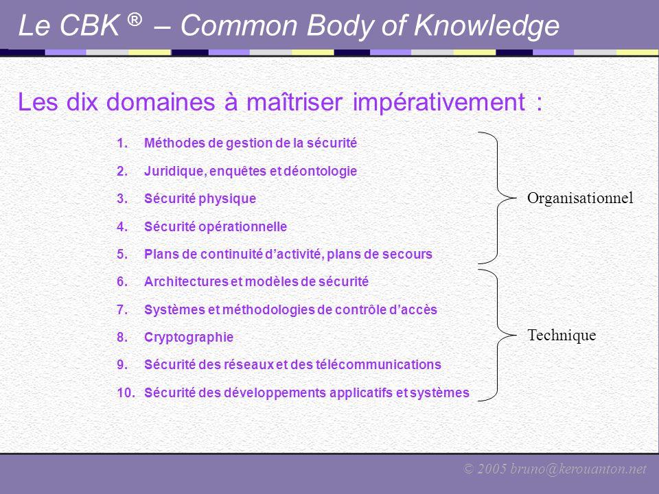 © 2005 bruno@kerouanton.net Le CBK ® – Common Body of Knowledge Les dix domaines à maîtriser impérativement : 1.Méthodes de gestion de la sécurité 2.J