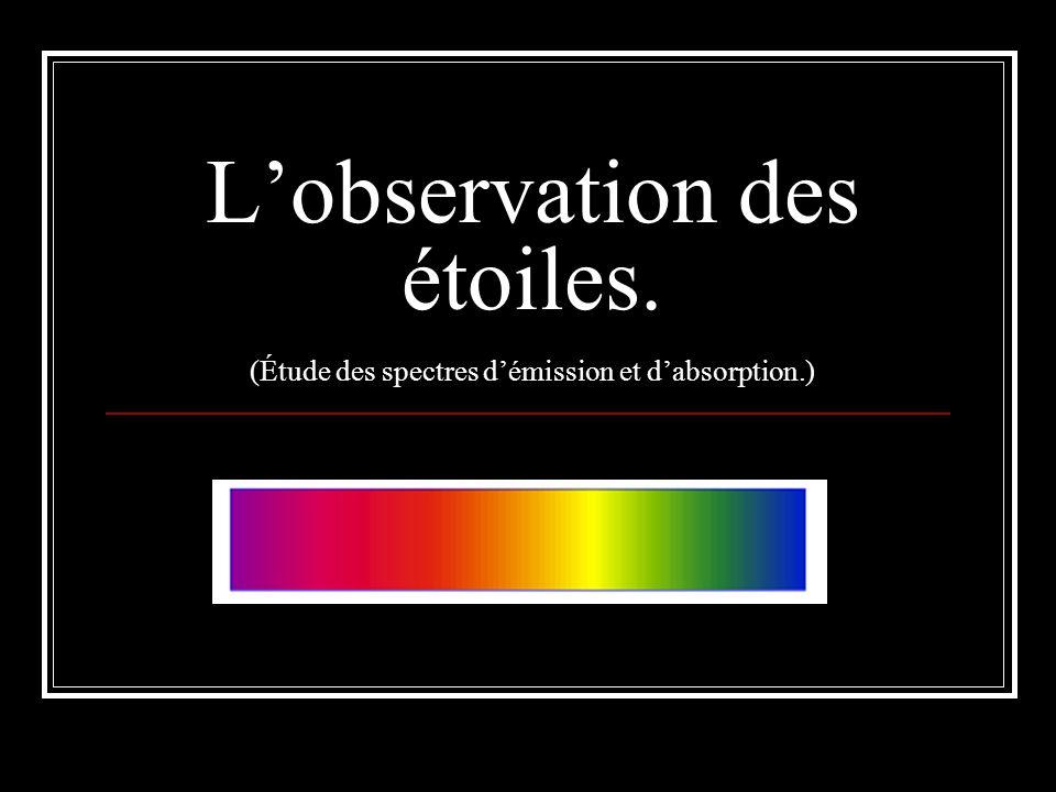 L'observation des étoiles. (Étude des spectres d'émission et d'absorption.)