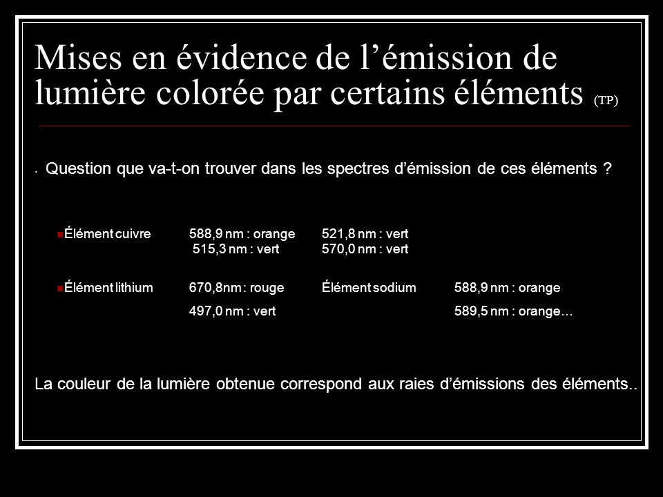 Mises en évidence de l'émission de lumière colorée par certains éléments (TP). Question que va-t-on trouver dans les spectres d'émission de ces élémen