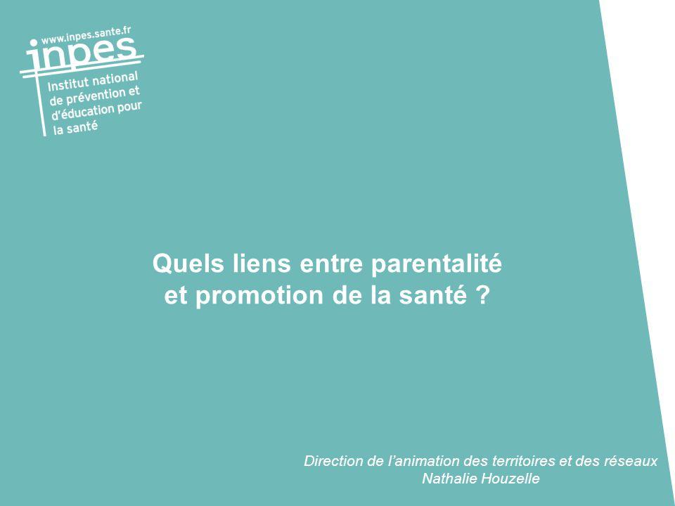 Quels liens entre parentalité et promotion de la santé ? Direction de l'animation des territoires et des réseaux Nathalie Houzelle
