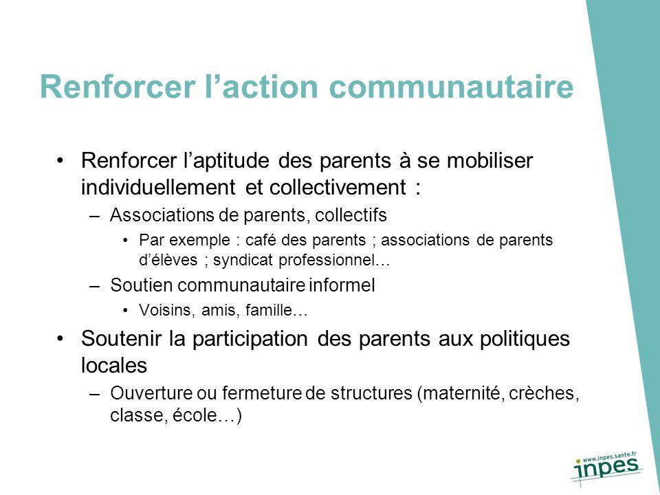 Renforcer l'action communautaire Renforcer l'aptitude des parents à se mobiliser individuellement et collectivement : –Associations de parents, collec