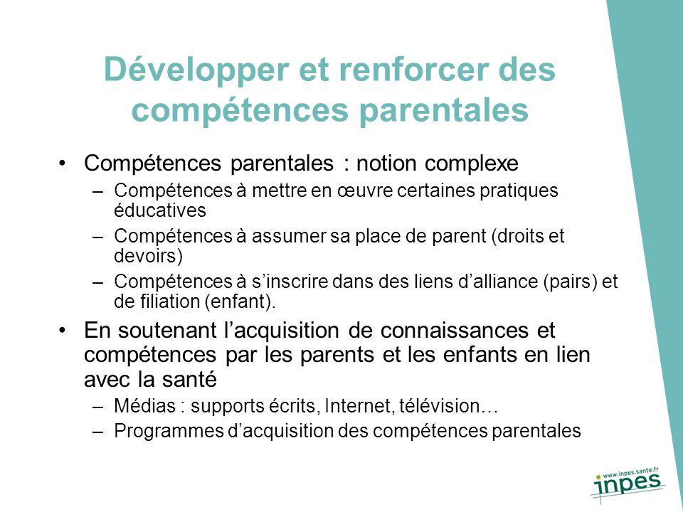 Développer et renforcer des compétences parentales Compétences parentales : notion complexe –Compétences à mettre en œuvre certaines pratiques éducati