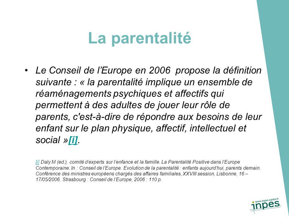 La parentalité Le Conseil de l'Europe en 2006 propose la définition suivante : « la parentalité implique un ensemble de réaménagements psychiques et a