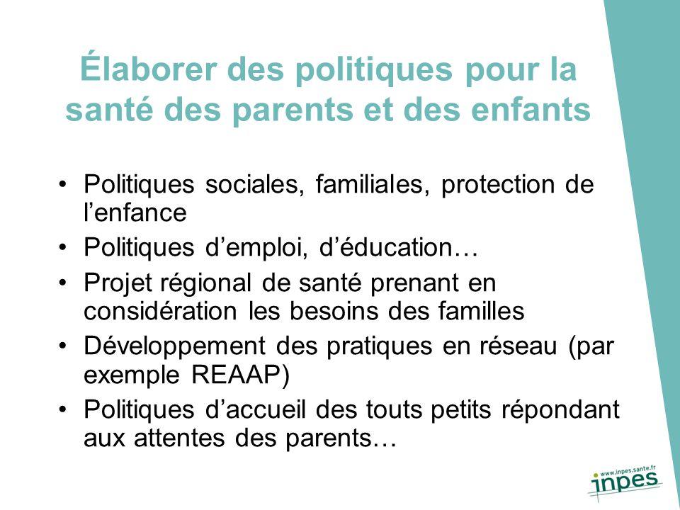 Élaborer des politiques pour la santé des parents et des enfants Politiques sociales, familiales, protection de l'enfance Politiques d'emploi, d'éduca