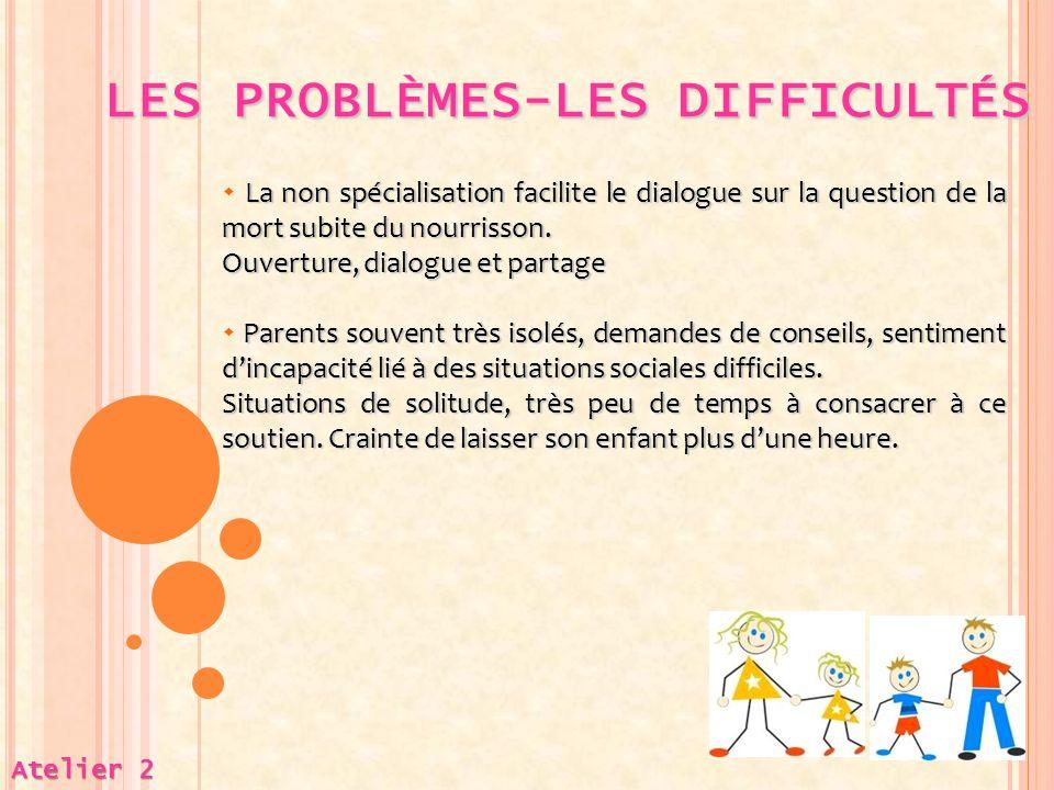 LES PROBLÈMES-LES DIFFICULTÉS LES PROBLÈMES-LES DIFFICULTÉS Atelier 2 La non spécialisation facilite le dialogue sur la question de la mort subite du