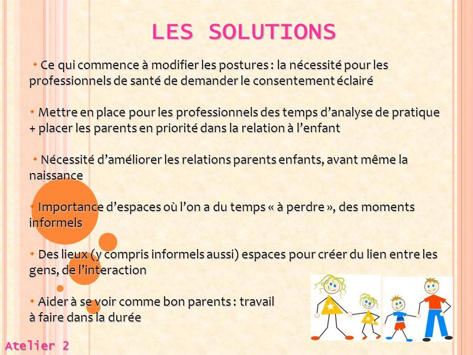 LES SOLUTIONS Atelier 2 Ce qui commence à modifier les postures : la nécessité pour les professionnels de santé de demander le consentement éclairé 